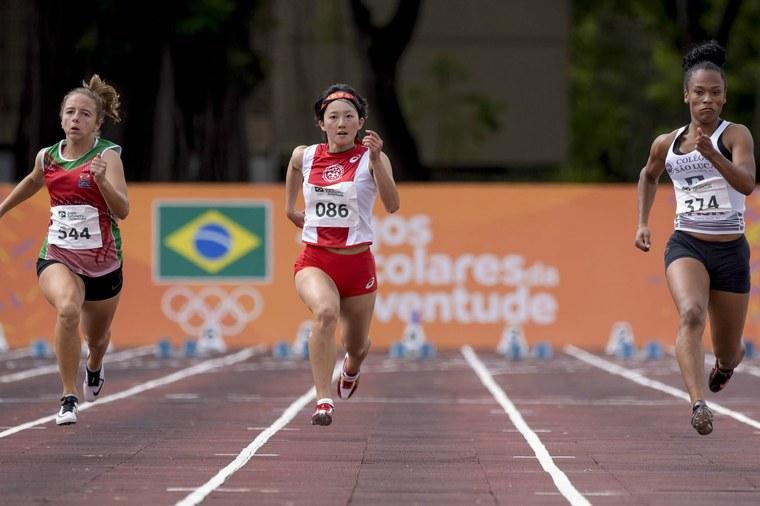 Sena Suzuki, do Japão, fica com a medalha de bronze na prova dos 100m rasos feminino. Foto: Washington Alves/Exemplus/COB