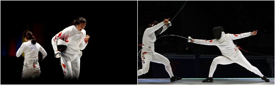 A chinesa Anqi Xu, medalha de ouro por equipe nos Jogos Olímpicos de Londres 2012 e em ação na foto ao lado à direita, é um dos destaques do Evento-Teste da esgrima no Rio de Janeiro. Foto: Getty Images